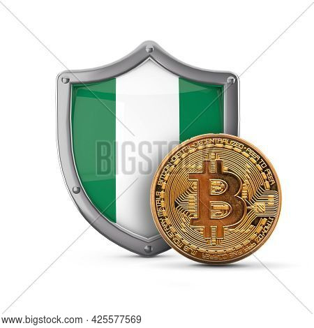 Bitcoin Cryptocurrency Coin In Front Of A Nigeria Flag Shield. 3d Render
