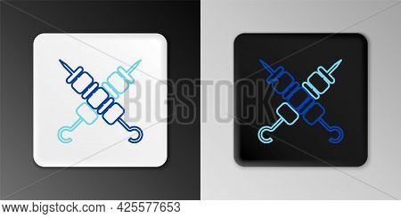 Line Crossed Grilled Shish Kebab On Skewers Stick Icon Isolated On Grey Background. Meat Kebab On Sk