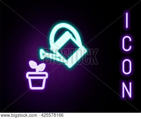 Glowing Neon Line Watering Can Sprays Water Drops Above Plant In Pot Icon Isolated On Black Backgrou