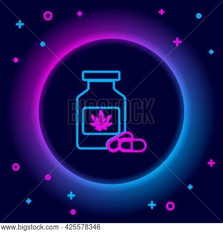 Glowing Neon Line Medical Bottle With Marijuana Or Cannabis Leaf Icon Isolated On Black Background.