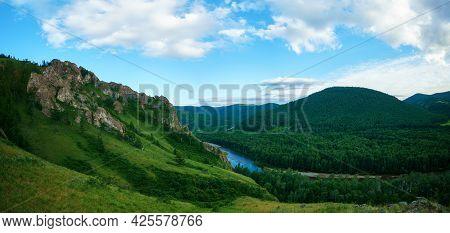 Ancestor Trail, Khakassia, Tourist Route, Summer Sunny Day.