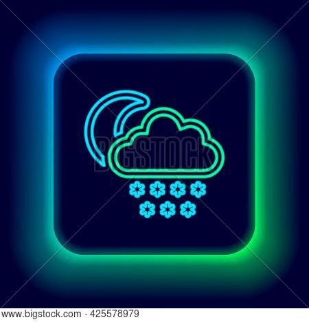 Glowing Neon Line Cloud With Snow And Moon Icon Isolated On Black Background. Cloud With Snowflakes.