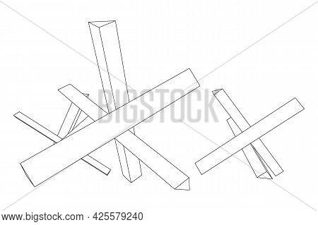Hedgehog Antitank Defence. Wireframe Low Poly Mesh.