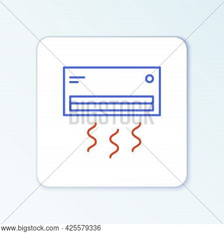 Line Air Conditioner Icon Isolated On White Background. Split System Air Conditioning. Cool And Cold