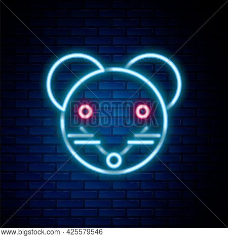 Glowing Neon Line Rat Zodiac Sign Icon Isolated On Brick Wall Background. Astrological Horoscope Col