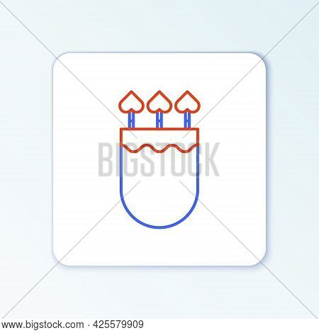 Line Quiver And Arrows With Heart Icon Isolated On White Background. Cupid Symbol. Love Sign. Valent