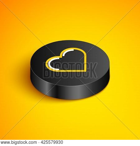 Isometric Line Heart Icon Isolated On Yellow Background. Romantic Symbol Linked, Join, Passion And W