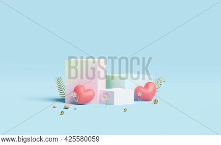 Cube Stage Podium Empty With Heart,flower,ball Isolated On Blue Pastel Composition. Summer Decorate