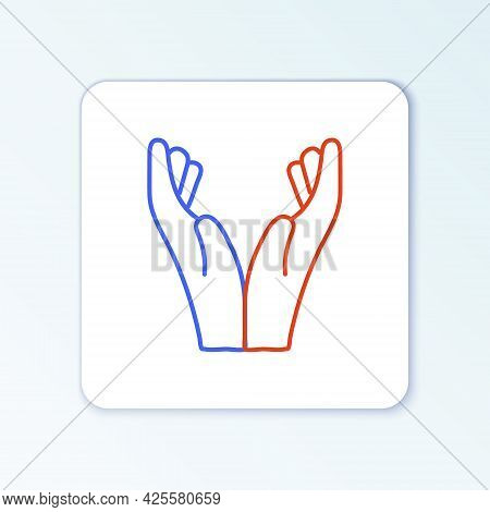 Line Hands In Praying Position Icon Isolated On White Background. Prayer To God With Faith And Hope.