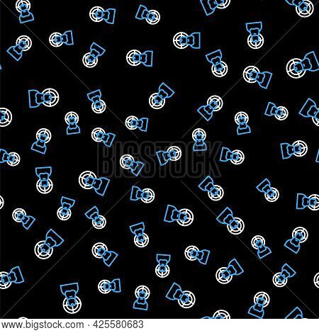 Line Jesus Christ Icon Isolated Seamless Pattern On Black Background. Vector