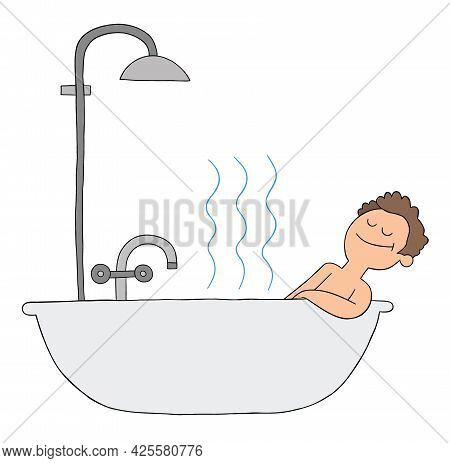 Cartoon Man Takes A Bath In The Tub And Is Very Happy, Vector Illustration. Colored And Black Outlin