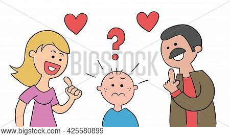Cartoon Mom And Dad Ask Their Kid Which He Likes More And Kid Is Very Confused, Vector Illustration.