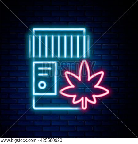 Glowing Neon Line Medical Bottle With Marijuana Or Cannabis Leaf Icon Isolated On Brick Wall Backgro