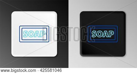 Line Bar Of Soap Icon Isolated On Grey Background. Soap Bar With Bubbles. Colorful Outline Concept.