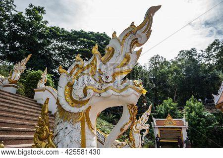 Close Up Serpent Status In Wat Pra Putthabat Phu Kwai Ngoen At Chiang Khan District Loei Thailand.ch
