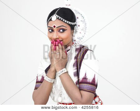 Classical Female Bharathanatyam Dancer Covering Her Mouth