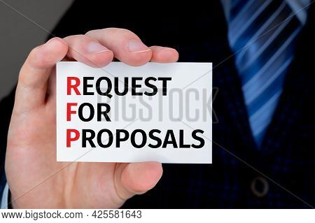 Concept Image Of Accounting Business Acronym Rfp Request For Proposal Written Over Business Card Hel