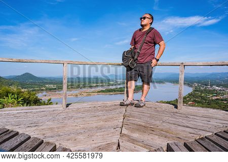 Asian Fat Guy With Beautiful Landscape View On Phu Lamduan At Loei Thailand.phu Lamduan Is A New Tou