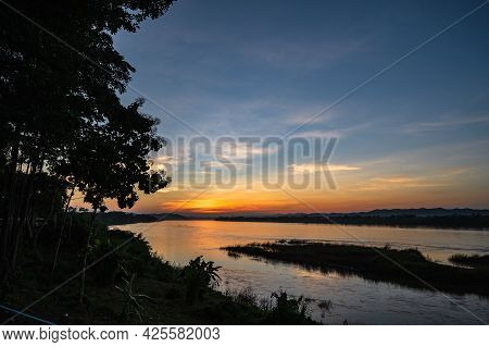 Beautiful Landscape And Sutset Of Mekhong River Between Thailand And Laos From Chiang Khan District.