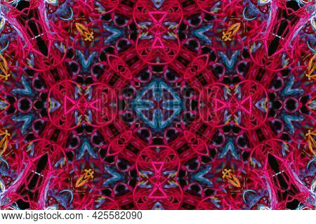 Abstract Pattern Of Bright Color Threads On Black Background With 3d Effect