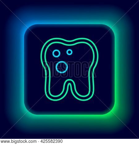 Glowing Neon Line Tooth With Caries Icon Isolated On Black Background. Tooth Decay. Colorful Outline