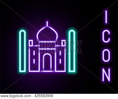 Glowing Neon Line Taj Mahal Mausoleum In Agra, Indiaicon Isolated On Black Background. Colorful Outl