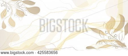 Luxurious Golden Wallpaper. Banner With A White Background And Beautiful Light Stripes And Spots. Go