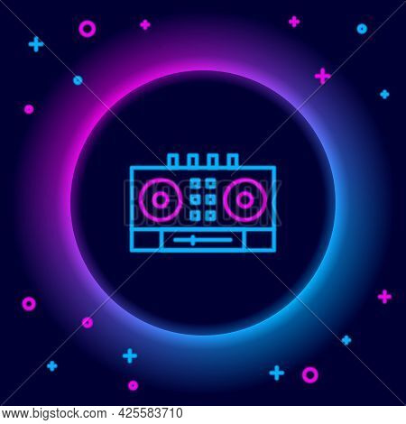 Glowing Neon Line Dj Remote For Playing And Mixing Music Icon Isolated On Black Background. Dj Mixer