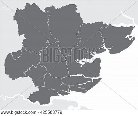 The Essex County Administrative Map Divided In Districts, England