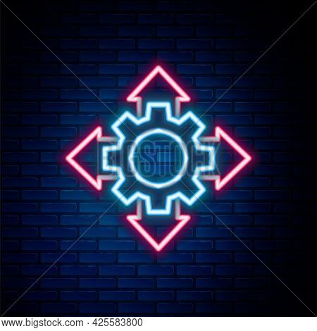 Glowing Neon Line Project Team Base Icon Isolated On Brick Wall Background. Business Analysis And Pl