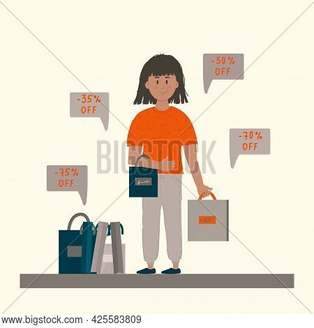 Black Friday Banner With A Character And Discounts. Poster Of A Man With Shopping Bags. Promo Concep