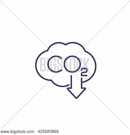 Co2 Gas, Carbon Emission Reduction Line Icon