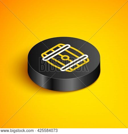 Isometric Line Wooden Barrel Icon Isolated On Yellow Background. Alcohol Barrel, Drink Container, Wo
