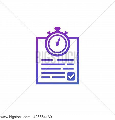 Chronometer And Results, Timer And Document Icon