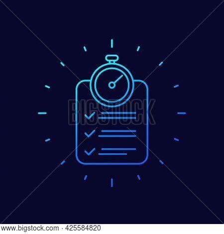 Chronometer And A Checklist Line Vector Icon