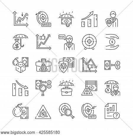 Large Set Of 25 Risk Management And Insurance Icons For Business Adversity And Missed Targets. Warni