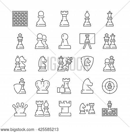 Large Set Of Different Chess Icons With Pieces, Board, Badges, Moves. Queen, Checkmate, Strategy Sym
