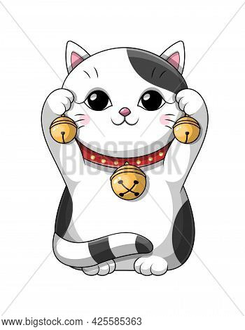Cute Adorable Little Black And White Cartoon Japanese Lucky Kitty Or Cat Playing With Brass Bells In