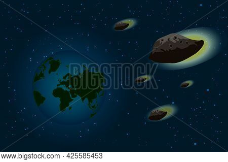 Space Sky With Planet Earth And Falling Asteroid. Giant Meteor Is Approaching The Earth. Cosmic Phen