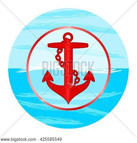 Anchor Emblem With Circular Frame Isolated On White Background. Red Anchor Silhouette In Blue Circle