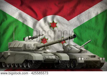 Tanks On The Burundi Flag Background. Burundi Tank Forces Concept. 3d Illustration