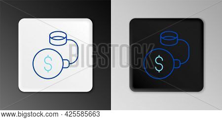 Line Debt Ball Chained To Dollar Coin Icon Isolated On Grey Background. Big Heavy Debt Weight With S