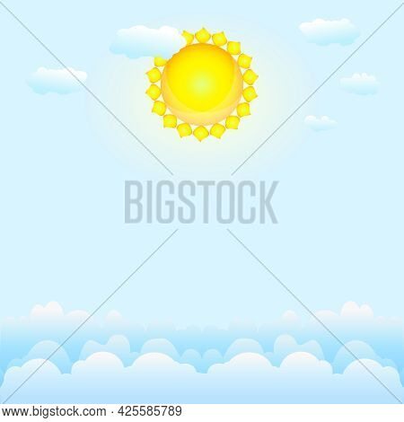 Cloudscape With Blue Sky, Clouds And Sun. Summer Sunny Day. Good Weather Wallpaper. Shiny Heaven Vie