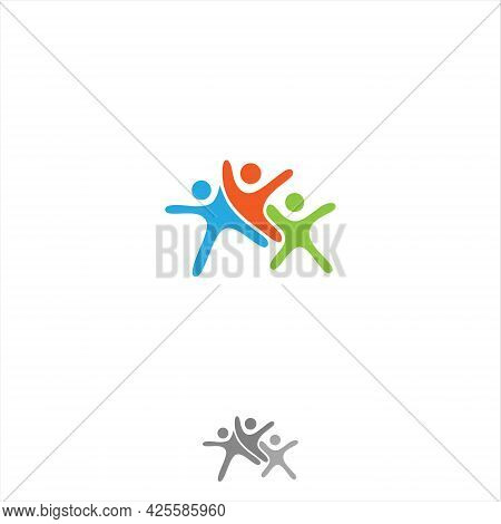 Vector Abstract Three People Icon Symbol With Bold Outline. People In Abstract Shape. Vector Illustr