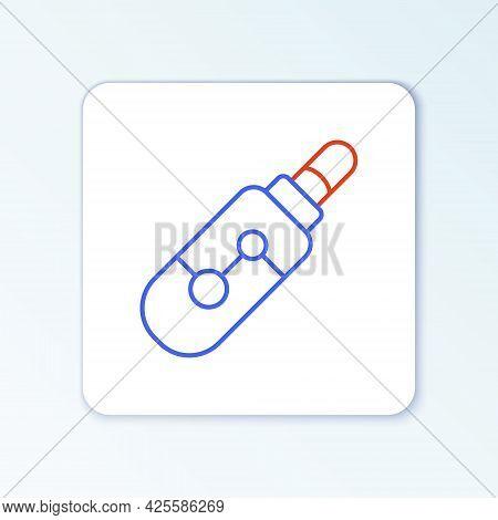 Line Electronic Cigarette Icon Isolated On White Background. Vape Smoking Tool. Vaporizer Device. Co
