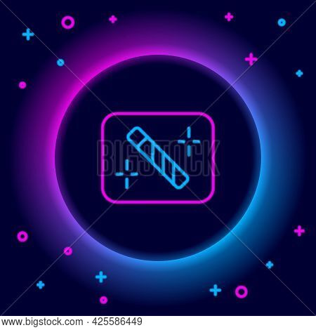 Glowing Neon Line Photo Retouching Icon Isolated On Black Background. Photographer, Photography, Ret