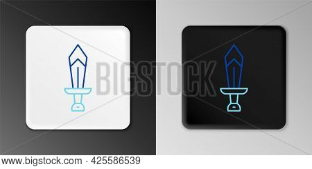Line Sword For Game Icon Isolated On Grey Background. Colorful Outline Concept. Vector