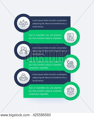 Team Management, Hr, Infographics With Line Icons