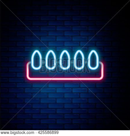 Glowing Neon Line Set Of False Nails For Manicure Icon Isolated On Brick Wall Background. Varnish Co