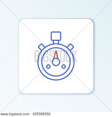 Line Stopwatch Icon Isolated On White Background. Time Timer Sign. Chronometer Sign. Colorful Outlin